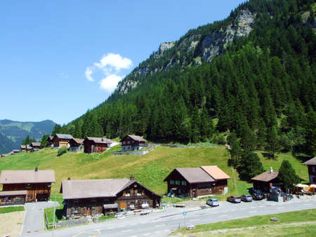 The small traditional alpine village of Steg in the Saminatal Valley and in the heart of the Liechtenstein Alps - Steg, Liechtenstein