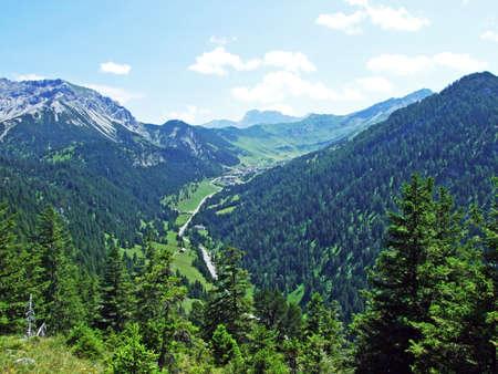 View of the Malbuntal alpine valley and ski-resort village Malbun from the slopes of the Liechtenstein Alps mountain range - Steg, Liechtenstein