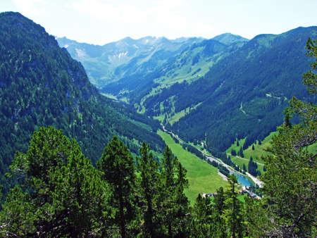 View of the Saminatal alpine valley and of the peaks of the Liechtenstein Alps - Steg, Liechtenstein