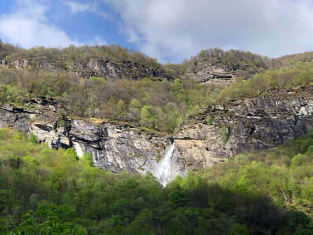 Waterfall Cascata delle Sponde or Wasserfall Cascata delle Sponde, Riveo (The Maggia Valley or Valle Maggia or Maggiatal) - Canton of Ticino, Switzerland