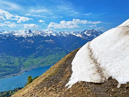 The early spring atmosphere with the last remnants of winter and snow in the Seeztal subalpine valley, Walenstadtberg - Canton of St. Gallen, Switzerland (Kanton St. Gallen, Schweiz)