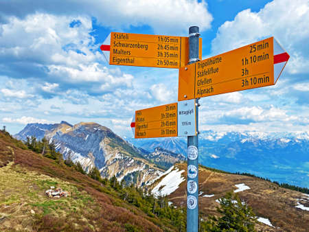 Mountaineering signposts and markings on peaks and slopes of the Pilatus mountain range and in the Emmental Alps, Alpnach - Canton of Obwalden, Switzerland (Kanton Obwald, Schweiz)