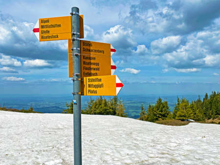 Mountaineering signposts and markings on peaks and slopes of the Pilatus mountain range and in the Emmental Alps, Alpnach - Canton of Obwalden, Switzerland (Kanton Obwald, Schweiz) Stock fotó