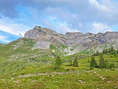 Alpine peaks Chli Haupt Murmelchopf and Haupt or Brünighaupt (Bruenighaupt oder Brunighaupt) in the Uri Alps mountain massif, Melchtal - Canton of Obwalden, Switzerland (Kanton Obwald, Schweiz)