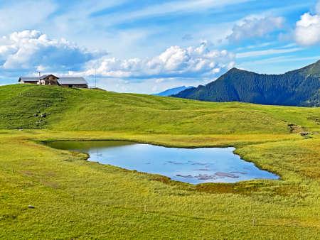 The alpine lower lake Seefeldsee (unterer Seefeldsee) or lower Seefeld Lake in the Uri Alps mountain massif, Sachseln - Canton of Obwalden, Switzerland (Kanton Obwald, Schweiz)