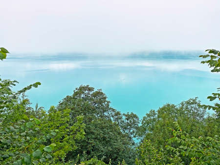 Morning fog and low clouds over Lake Brienz - Canton of Bern, Switzerland / Morgennebel und tiefe Wolken über dem Brienzersee, Brienz - Canton of Bern, Switzerland (Kanton Bern, Schweiz)