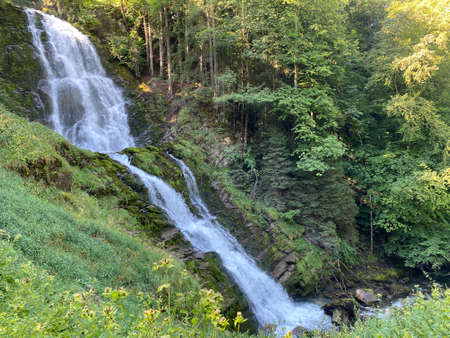Giessbach Falls in the eponymous nature park and over Lake Brienz / Giessbachfälle (Giessbachfaelle) im gleichnamigen Naturpark und über dem Brienzersee - Canton of Bern, Switzerland (Schweiz)