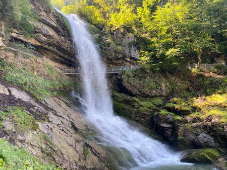 Giessbach Falls in the eponymous nature park and over Lake Brienz / Giessbachfälle (Giessbachfaelle) im gleichnamigen Naturpark und über dem Brienzersee - Canton of Bern, Switzerland (Schweiz)