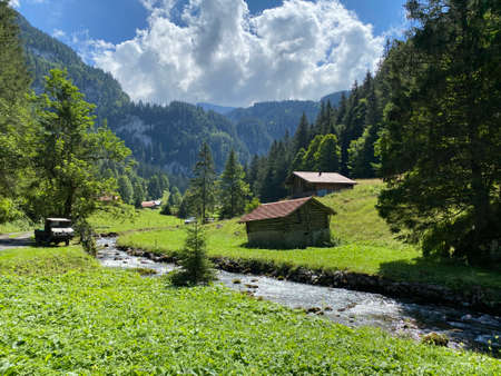 Traditional rural architecture and family livestock farms on pastures in the Giessbach Nature Park and the mountain range Bernese Alps, Brienz - Canton of Bern, Switzerland (Kanton Bern, Schweiz)