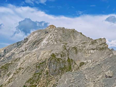 Alpine peak Huetstock Barglen Schiben above the Melchtal valley (or Melch valley) and in the Uri Alps mountain massif, Melchtal - Canton of Obwalden, Switzerland (Kanton Obwald, Schweiz)