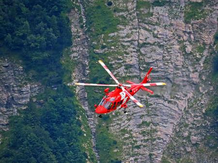 Rega - Swiss Air-Rescue or Swiss Air-Ambulance Helicopter - Die Rega Rettungshelikopter (Rettungsflugwacht und Garde Aeriènne), Innertkirchen - Canton of Bern, Switzerland (Kanton Bern, Schweiz)