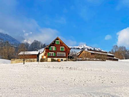 Traditional country houses and old livestock farms on subalpine Swiss pastures, Amden - Canton of St. Gallen, Switzerland (Kanton St. Gallen, Schweiz)