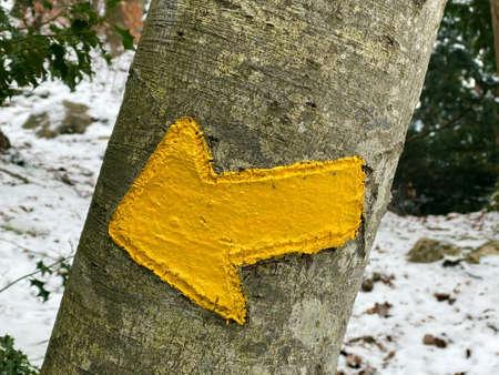 Specific trail marking for easy hiking or walking trails in valleys and subalpine Swiss areas (Wegweisung für die Wanderwege in der Schweiz), Weesen - Canton of St. Gallen, Switzerland (Schweiz)