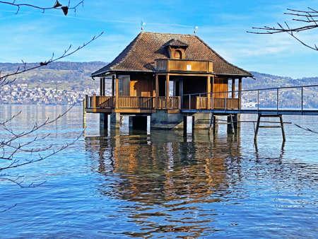 Wooden lake shore pavilion on Lake Zurich (Zürichsee oder Zuerichsee), Wädenswil (Waedenswil) - Canton of Zürich (Zuerich), Switzerland (Schweiz)