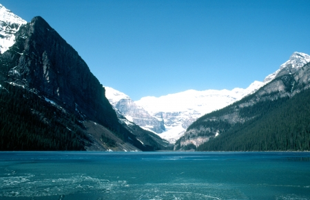 Lake Louise which thin ice stretched
