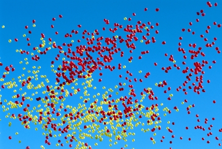 The balloon which confuses and flies  Stock Photo