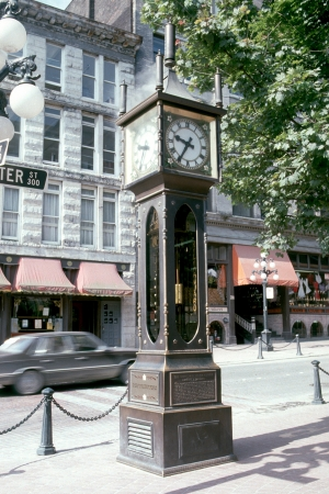 The steamy clock of a gas town  Editorial