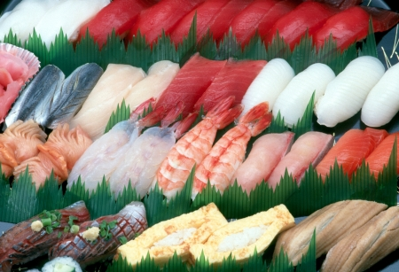 An assortment of sushi  Stock Photo