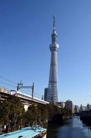Tokyo Sky Tree and the TOBU RAILWAY special express SPACIA