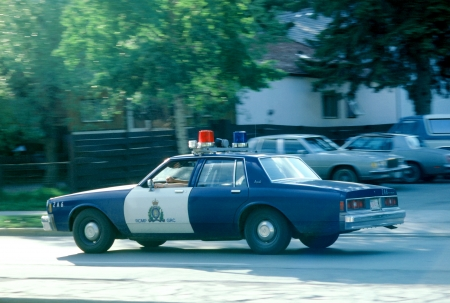 The police vehicles under patrol seen in Banff in Canada