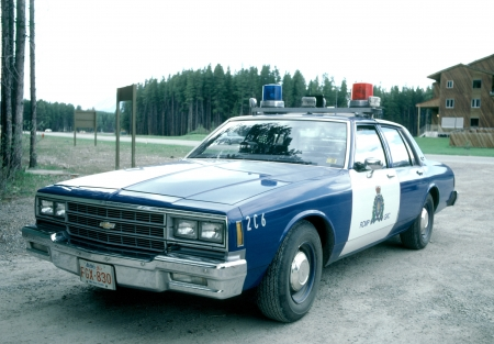 The police car seen in Banff in Canada  Editorial