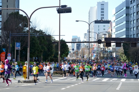 The runner who participates in the Tokyo marathon and will run to it in Tokyo, Japan, and February 24 2013 year,