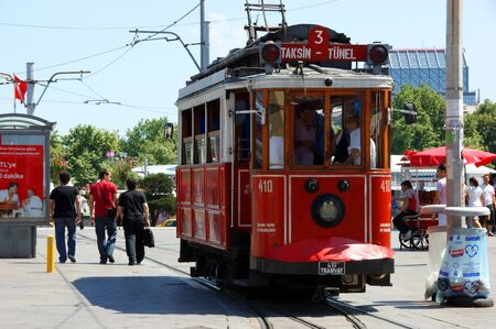 Tram in Istanbul.The line 3 that reaches Taksim Square