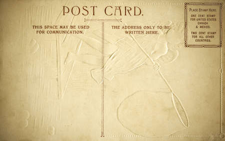 The Rear Side of an Embossed Postcard w graphic space for addressing and or graphic creation. The postcard is unsued and has a retro style to it.