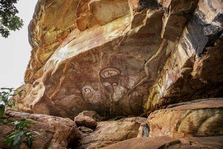 Kimberleys, Australia- August 4,2017:_aboriginal rock art in a cave in the Kimberley region