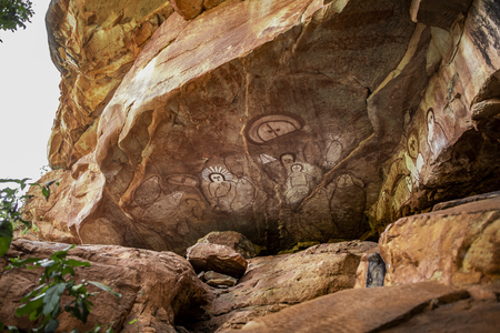 Kimberleys, Australia- August 4,2017:_aboriginal rock art in a cave in the Kimberley region