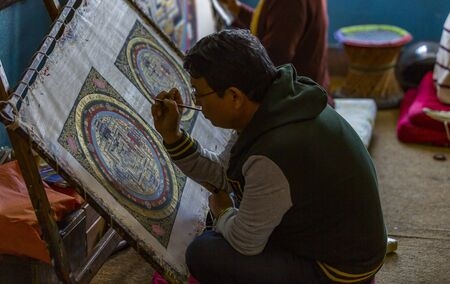 Kathmandu, Nepal: November 03,2017:man is wood carving in Nepal