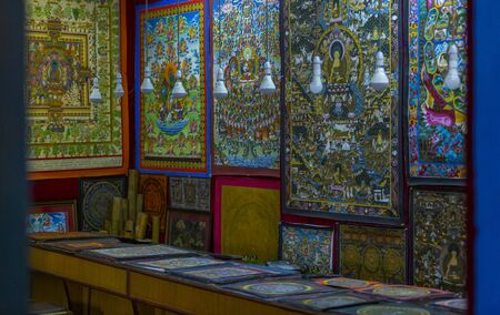Kathmandu, Nepal: November 02,2017:Mandala shop with different art works in Kathmandu Editöryel