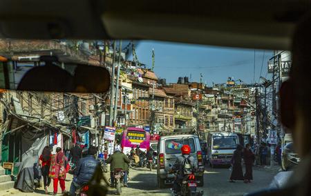 Kathmandu, Nepal: November 02,2017:traffic jam  in Kathmandu seen out of a car
