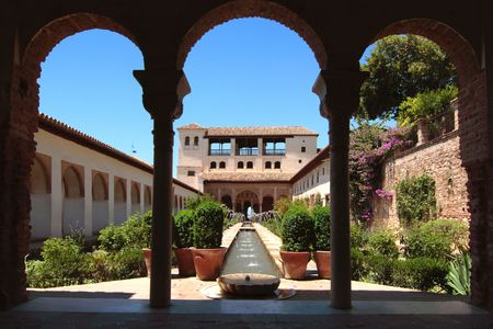 One of the Palace of the Alhambra in Granada, Spain, situated in the Generalife Gardens Editorial