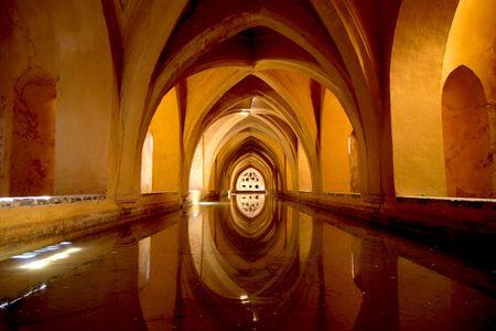 sevilla: Water opslag van het Alcazar in Sevilla  Stockfoto