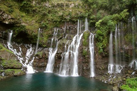 Waterfalls, river Langevin, French Reunion island Stock Photo