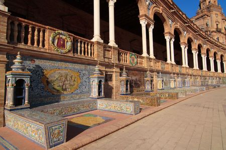 Mosaic details of the front wall of the main building, plaza de espana, sevilla