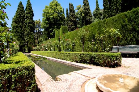 The magnificent garden called Generalife, in the Alhambra Palace, Spain Editorial