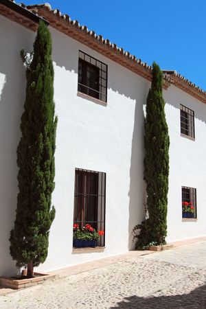 Typical front of a andalusian house, white, with flowers and cypresses