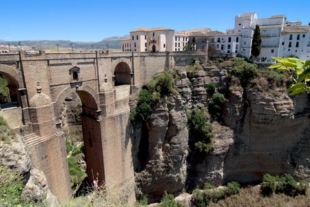 ronda: Famous bridge of Ronda, village built on the top of a rock, Spain Stock Photo