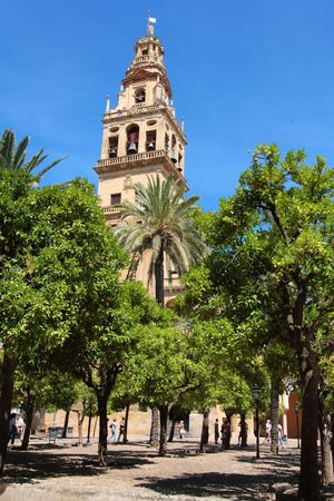 Interior garden with orange tree, in the Mezquita, Cordoba Stock Photo