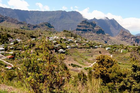 an overall view of Cilaos Village, French Reunion Island Stock Photo
