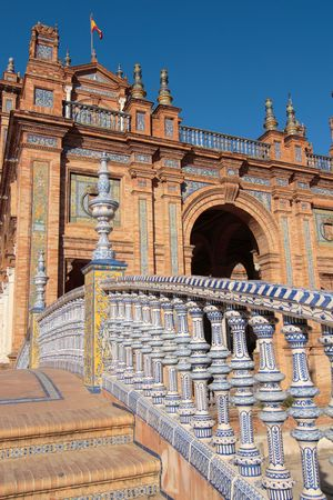 Stairs in white and blue ceramic, plaza de espana
