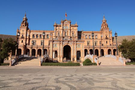 An overall view of Plaza de Espana, Sevilla, Spain Stock Photo