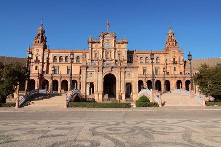overall: An overall view of Plaza de Espana, Sevilla, Spain Stock Photo