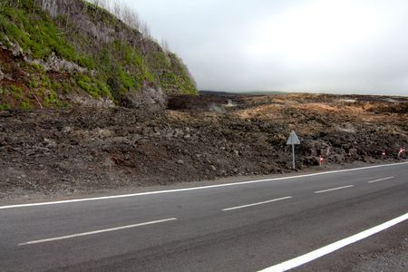 The brand new road built after the lava flow, french Reunion Island