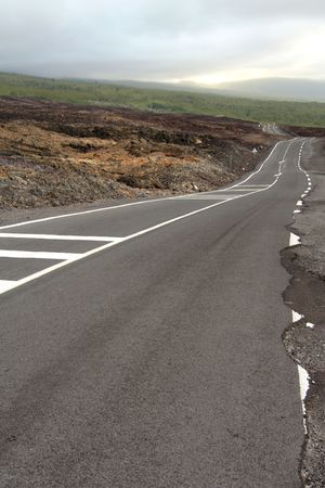 The brand new road, built after a lava flow, french Reunion island Stock Photo