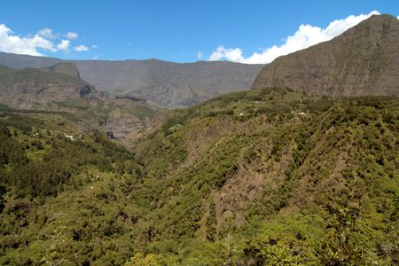 An overall view of Mafate mountains, Reunion Island