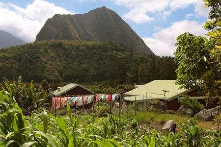 Village living in autarky in mountains, Reunion Island Stock Photo