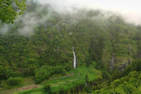 Famous waterfall called voile de la mariée, Reunion Island Stock Photo